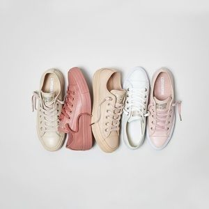 Pastel Pink Leather Converse